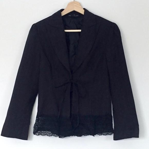 Rampage Jackets & Blazers - EUC (Heart Moon Star) Pinstripe Blazer w Lace Hem